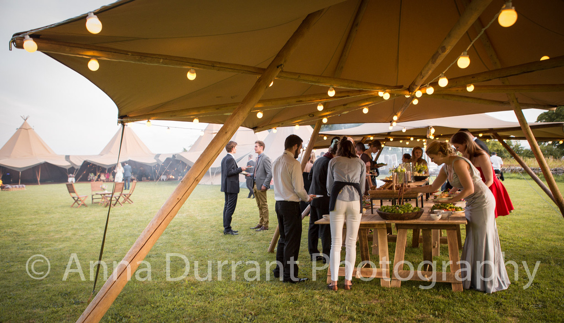 Party buffet food served from an awning