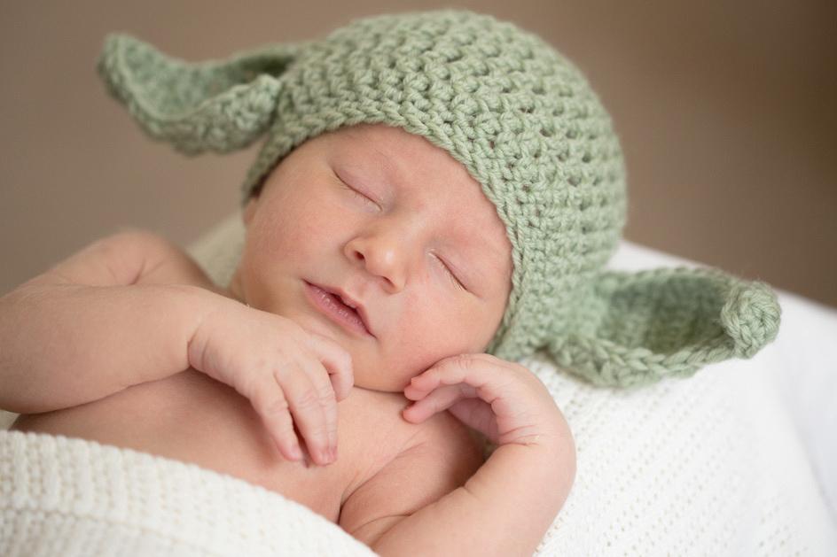 newborn with cute hat