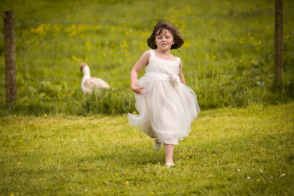 young bridesmaid running