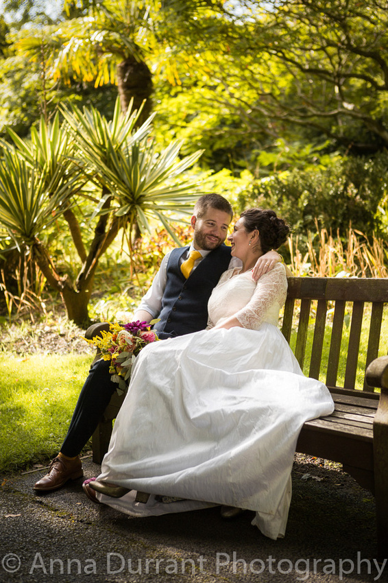 Bride and groom seated