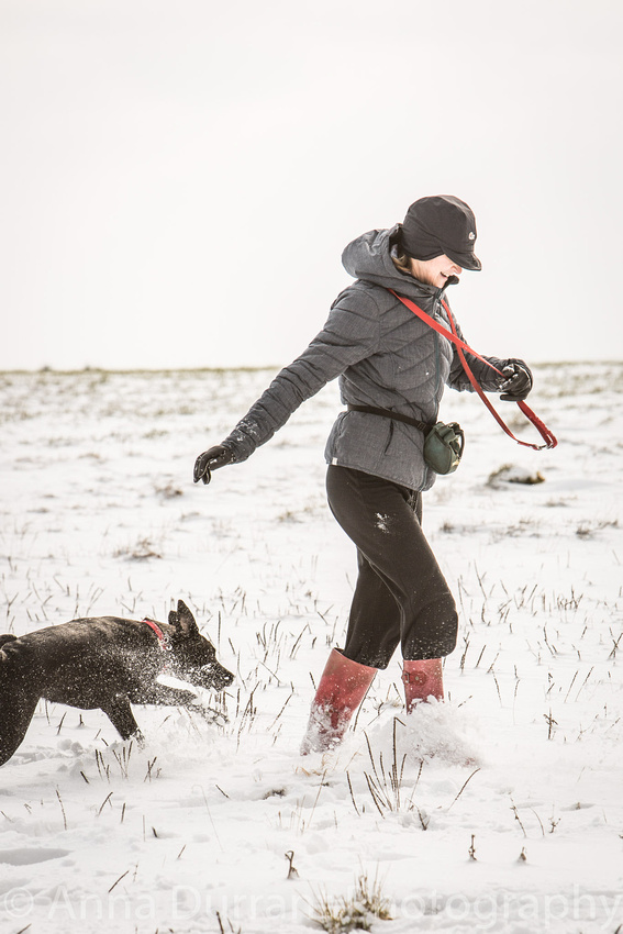 Running with the dog in the snow